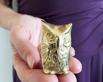 Vintage Brass Bird/Brass Owl Figurine/Small Brass Owl/Vintage Owl Ornament/Miniature Owl Figurine/Vintage Brass Animal/Brass Owl Collectable