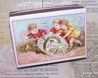 Antique, Edwardian, French, Pharmacy, Pill, Box, Repurposed, Trinket, Gift, Candy, Easter, Egg, To Greet You, Children, Victorian, Card