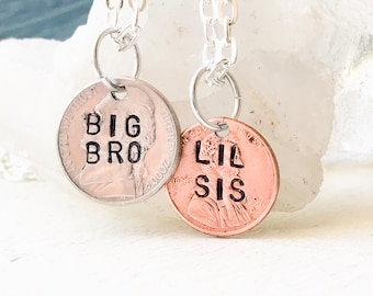 Brother sister gift brother and sister gift from Brother gift from sister, Sibling gift, Little sister big brother necklace set, Big lil