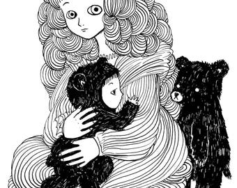 Baby and Baby Bear - Signed Archival Print, by Ani Castillo.