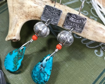 Large Silver Tribal Turquoise and Coral Boho Statement Earrings | Gift For Her | Modern Gypsy Dangle Earrings