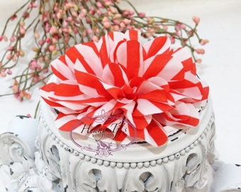 "3 pieces RED / WHITe 4.5"" inch Dahlia Striped Large Soft Silk Chiffon Puff Ruffle Fabric Flowers (Flat Back) . DIY Hair Accessories."