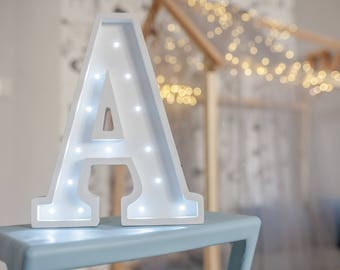 Letter lights A Marquee letter A alphabet lights Marquee letters Nursery light Wooden letters Night light Kids lamp  Baby shower Lamp