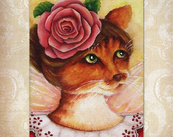 Rose Fairy Ginger Cat Flower Fantasy Art 5x7 Fine Art Print