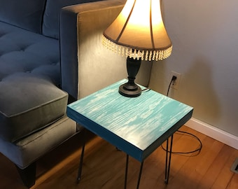 Turquoise Cerused Oak End Table with Hairpin Legs - mid century modern