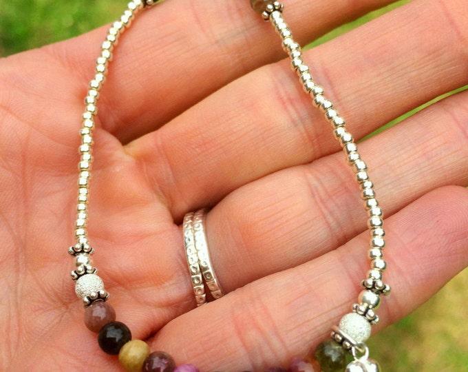 Dainty Watermelon Tourmaline BRACELET- October Birthstone jewellery gift