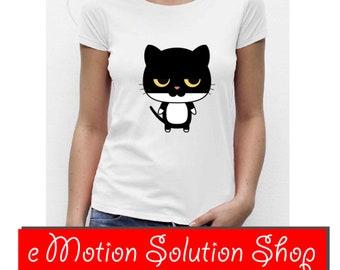 T-shirt women white black cat size choice