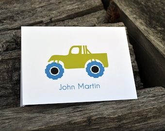 Kids Personalized Note Cards Monster Truck Design