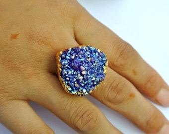 25mm Adjustable Druzy Ring Electroplated Purple Druzy Heart Ring Mineral Jewelry Druzy Jewelry Statement Ring Resizable Gold Ring Crystals