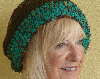 Women's winter hat in green and black, original handcrafted crochet hat with style, women's unique Bohemian accessories, creative hats