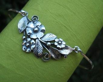 Bracelet - Bangle - Silver Bracelet - Silver Bangle - Bracelets For Women - Sterling Silver Bangle Bracelet - Flower