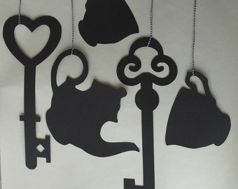 ALICE IN WONDERLAND Themed Keys, Cups, Teapot Shaped Hanging Decorations Wedding Party