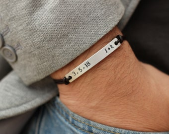 Custom Date and Initial Matching Couples Bracelet, His and Hers Bracelet, Couples Jewelry, Leather Bracelet, Boyfriend Gift