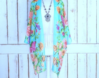 Light blue/pink floral bird print handmade sheer kimono cardigan cover up/lightweight sheer rose blouse/lingerie/gypsy festival top/one size
