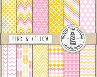 CANDY SHOP | Pink And Yellow Digital Paper Pack | Scrapbook Paper | Printable Backgrounds | 12 JPG, 300dpi Files | BUY5FOR8