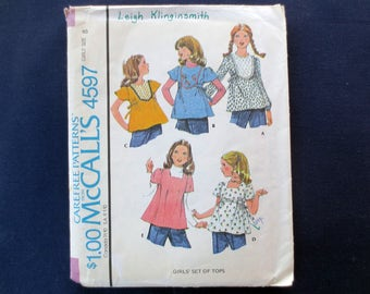1975 Tie-Back Top Vintage Pattern, McCalls 4597, Girls Size 8, Breast 27