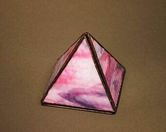 Pink Glass Pyramid Box