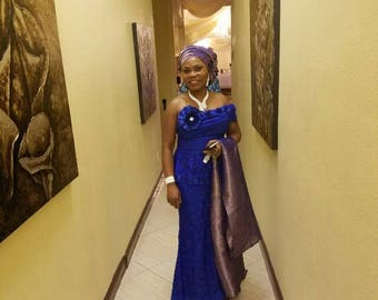 Blue fancy evening gown