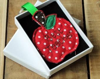 Handmade Personalised Fabric Red Apple Teachers Gift Key Ring