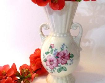 Vintage Grecian Hibiscus Vase Royal Copley Gold Stamp