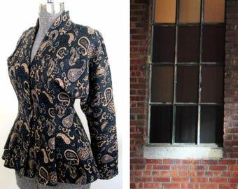 Gray Paisley Knit Peplum Jacket 1980s Grunge All That Jazz