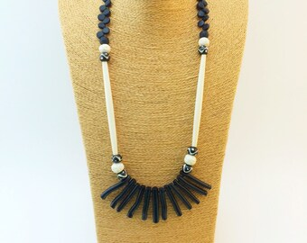 Black coral and bone necklace with coconut discs
