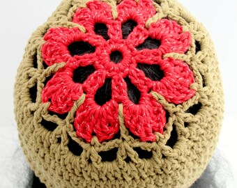 Crocheted Red Flower Beanie. Adult. Hat.