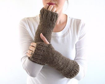 Chunky Knit Fingerless Gloves Mittens Arm Warmers Wrist Warmers | The Athens