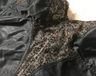 SOLD - do not buy! Vintage 1950s Black Satin Lace Bustier Bullet Bra Size 38B / 38C