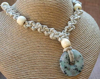 Thick Hemp Necklace With Peace Jade Gemstone Donut  Pendant Choker