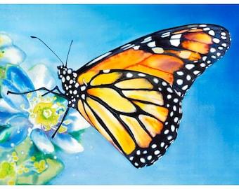 """5x7"""" Monarch Butterfly Watercolor Giclee Fine Art Print [Watercolor Monarch Print, Butterfly Painting, Butterfly Art, Watercolor Art]"""