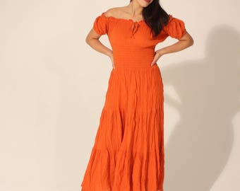 Vintage Dress Off the Shoulder Dress Orange Dress 90s Dress Maxi Dress Long Dress Summer Dress Elastic Waist Dress Small Dress Long Dress