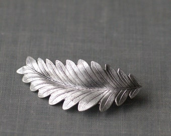 Leaf hair clip barrette grecian bridal goddess silver finish neoclassical regency wedding hair accessory