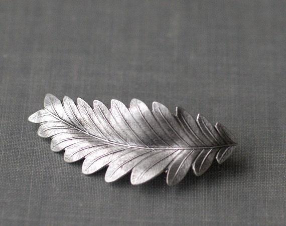 leaf hair clip barrette grecian bridal goddess silver finish