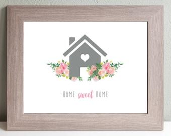 House Printable Wall Decor-Flowers-Watercolor-Home Sweet Home-Digital Wall Art-DIY Wall Art-Wall Art Download-House Home Decor-Wall Hanging