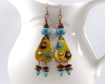 Handmade Earrings, Enameled Earrings, Yellow and Turquoise Earrings,  Boho  Earrings, Antique Copper Earrings, Artisan Earrings, AE219