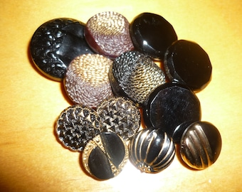 Lot 12 antique, vgte black glass buttons, all design, colors and sizes- 1900++++