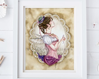 Sewing art print | Seamstress | Fairy art | 8x10 | daydreamer | Victorian costume | watercolor illustration