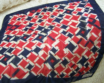 Vintage 70's Square Scarf Red, White & Blue Semi-Sheer by Tamiko