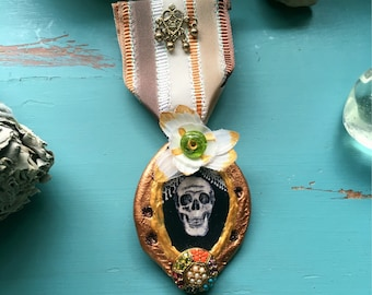 Victorian gothic skull art polymer clay necklace