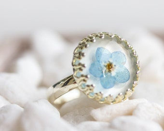 Real Flower Ring, forget me not, real flower jewelry, dried flower, blossoms, Vintage, silver,  flower, blue Flower, dried, adjustable,