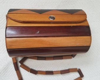 Vintage Handmade Wood Brown Slat Round Roll Handbag Purse