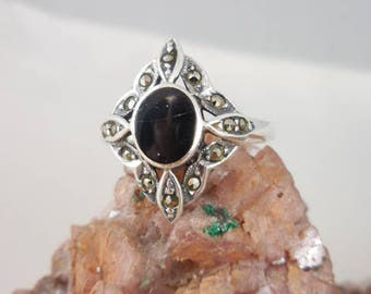 Black Onyx Marcasite Sterling Silver Ring