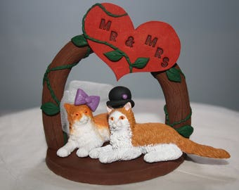 Cat Cake Topper; Small; Wedding Cake Topper; Bride and Groom; Mr and Mrs; Cake Figurines; Wedding Figurines; Animal Wedding Cake Topper