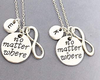SET OF 2 Personalized Necklaces, Distance Gift, No Matter Where, Charms Initial Necklace, Friendship necklace For Two, Long Distance Friends