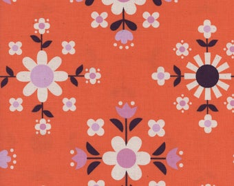 Cotton + Steel Welsummer by Kim Kight, Florametry in Sweet Orange, Bubblegum Pink, Retro,  Scandinavian Folk, Floral, 3057-01