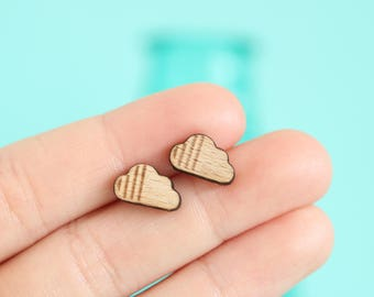 Boho Cloud Wood Earring Studs