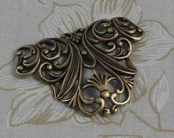 LuxeOrnaments Oxidized Brass Victorian Filigree Floral Focal (Qty 1) G-9516-D-B