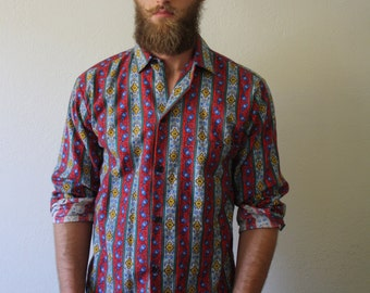 Festive Colorful Vintage 100% Cotton Button Down
