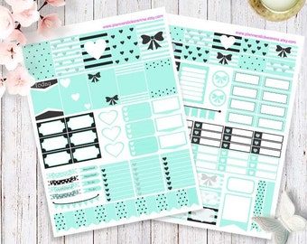 Blue harts and ribbons Printable Happy Planner Stickers, Erin Condren Planner Stickers